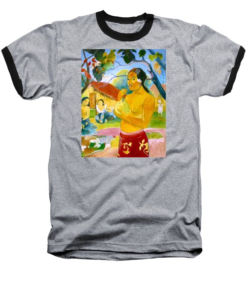 Woman Holding Fruit Baseball T-Shirt