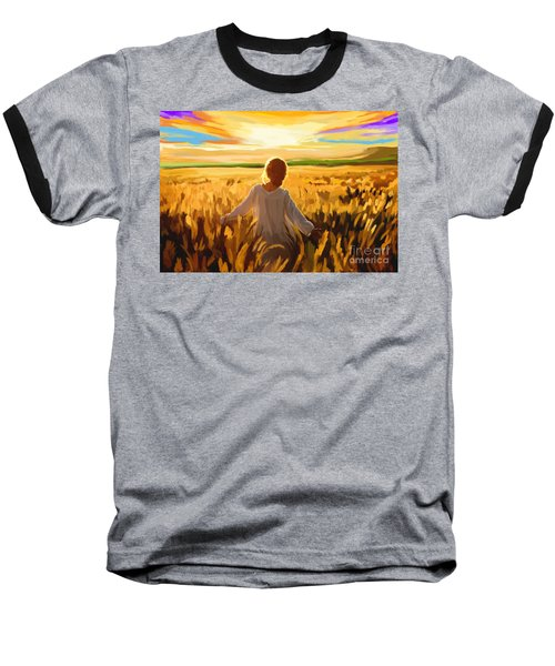 Woman In A Wheat Field Baseball T-Shirt by Tim Gilliland