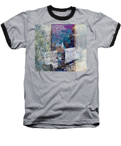 Baseball T-Shirt featuring the digital art Woman On A Bench by Cathy Anderson