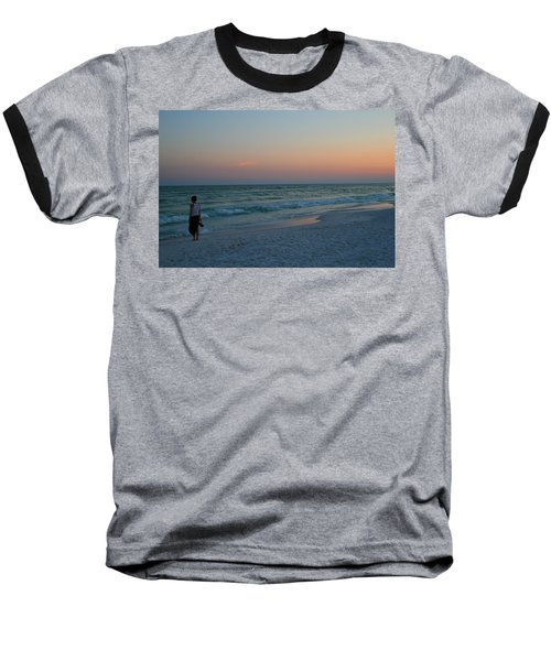 Woman On Beach At Dusk Baseball T-Shirt