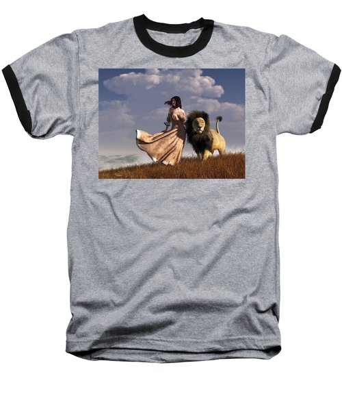 Woman With African Lion Baseball T-Shirt