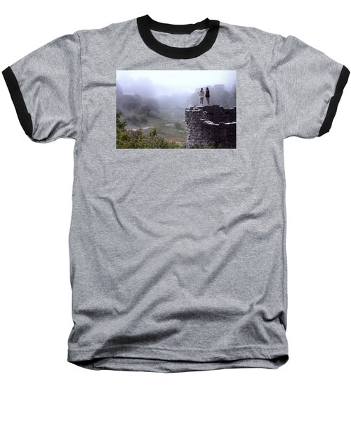 Women Overlooking Bright Foggy Valley Baseball T-Shirt
