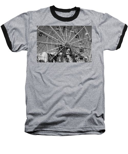 Wonder Wheel Of Coney Island In Black And White Baseball T-Shirt