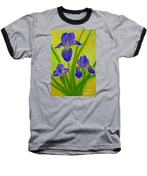 Wonderful Iris Flowers 3 Baseball T-Shirt by Oksana Semenchenko