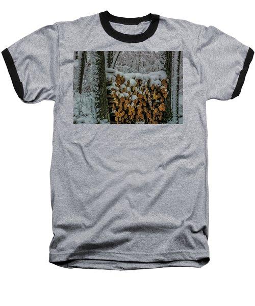 Wood Pile Baseball T-Shirt by Paul Freidlund