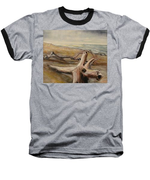 Wood Sand Water And Sky Baseball T-Shirt