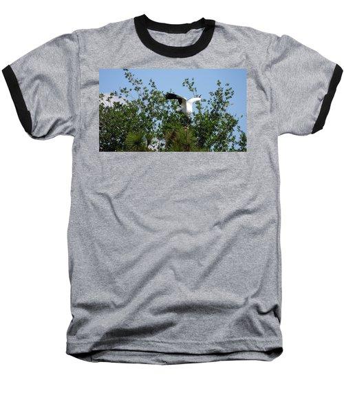 Baseball T-Shirt featuring the photograph Wood Stork by Ron Davidson