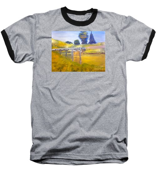 Baseball T-Shirt featuring the painting Wooden Bridge At Graften by Pamela  Meredith