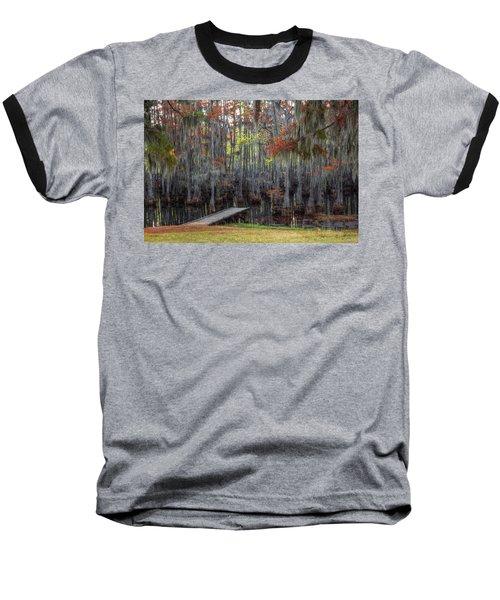 Wooden Dock On Autumn Swamp Baseball T-Shirt
