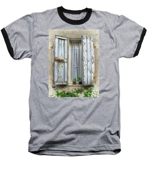 Wooden Shutters In Urbino Baseball T-Shirt by Jennie Breeze