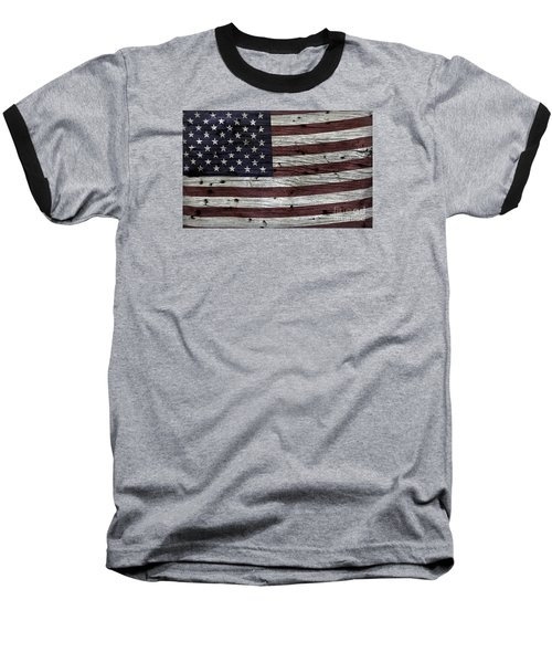 Wooden Textured Usa Flag3 Baseball T-Shirt by John Stephens