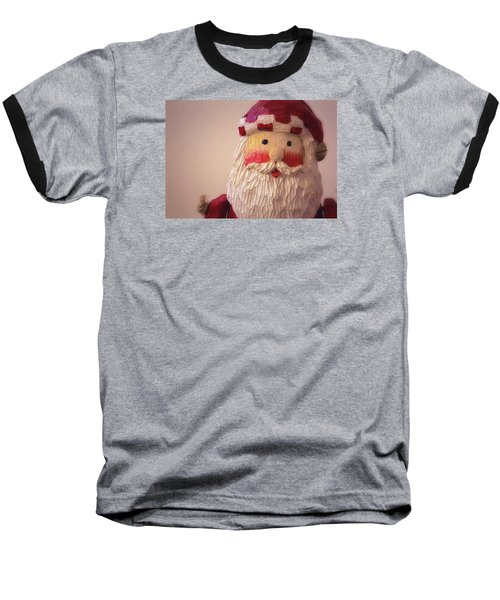 Baseball T-Shirt featuring the photograph Wooden Toy Santa by Nadalyn Larsen