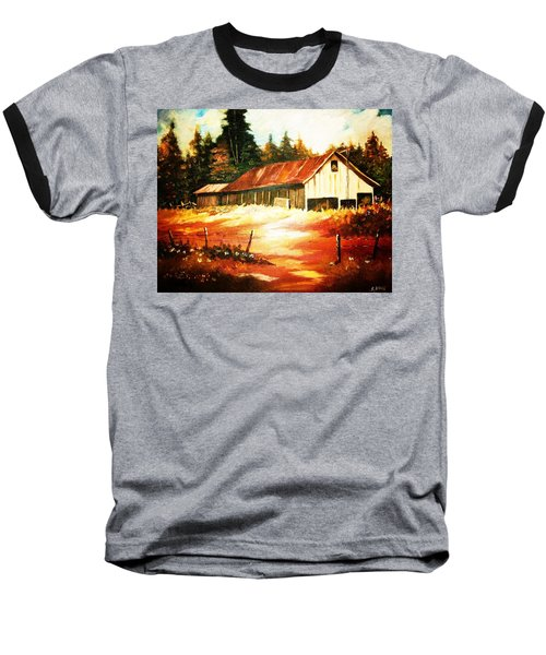 Baseball T-Shirt featuring the painting Woodland Barn In Autumn by Al Brown
