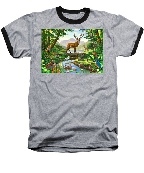 Woodland Harmony Baseball T-Shirt by Chris Heitt