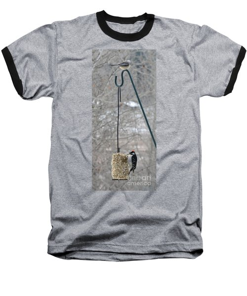 Woodpecker And Chickadee Baseball T-Shirt