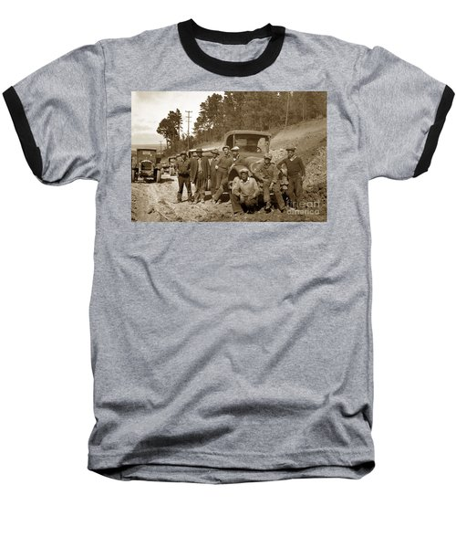 Workers On Highway One Monterey Carmel Hill California 1929 Baseball T-Shirt by California Views Mr Pat Hathaway Archives