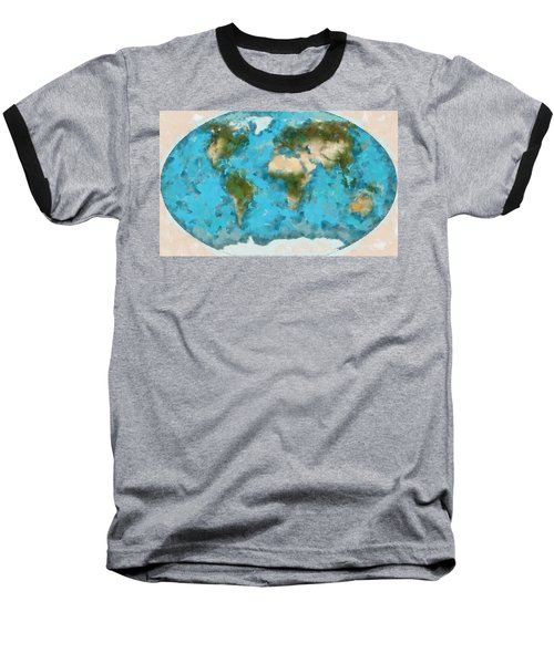 Baseball T-Shirt featuring the painting World Map Cartography by Georgi Dimitrov