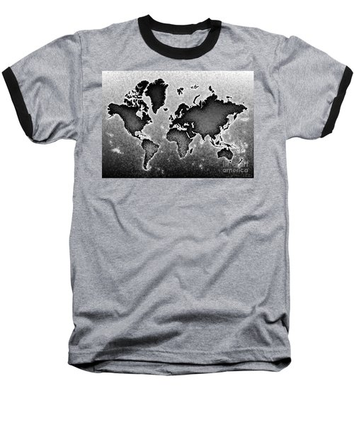 World Map Novo In Black And White Baseball T-Shirt by Eleven Corners