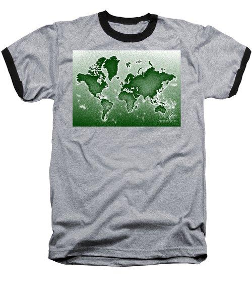World Map Novo In Green Baseball T-Shirt by Eleven Corners