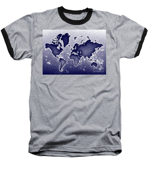 World Map Novo In Blue Baseball T-Shirt by Eleven Corners