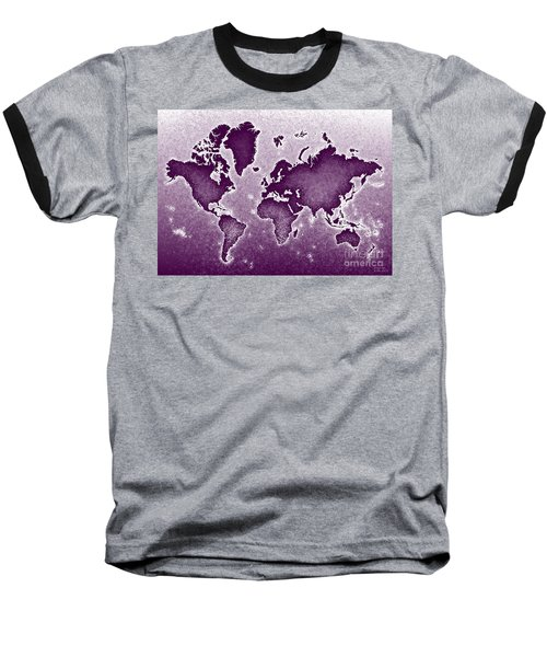World Map Novo In Purple Baseball T-Shirt by Eleven Corners