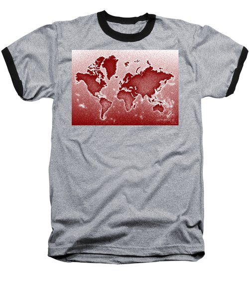 World Map Novo In Red Baseball T-Shirt by Eleven Corners