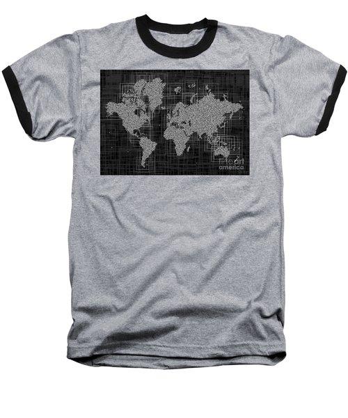 World Map Rettangoli In Black And White Baseball T-Shirt by Eleven Corners