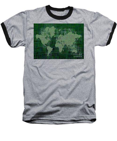 World Map Rettangoli In Green And White Baseball T-Shirt by Eleven Corners