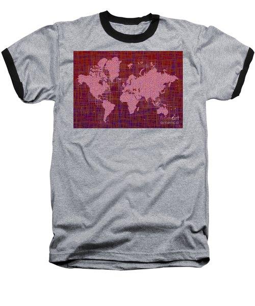 World Map Rettangoli In Pink Red And Purple Baseball T-Shirt by Eleven Corners