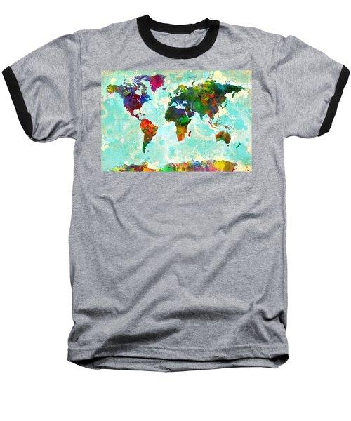 World Map Splatter Design Baseball T-Shirt