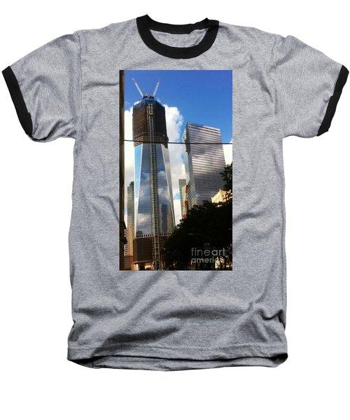 World Trade Center Twin Tower Baseball T-Shirt by Susan Garren