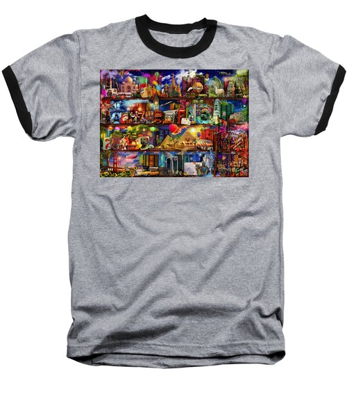 World Travel Book Shelf Baseball T-Shirt