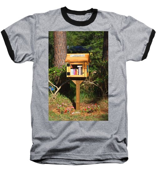 Baseball T-Shirt featuring the photograph World's Smallest Library by Gordon Elwell