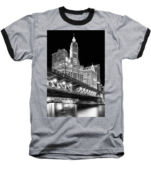 Wrigley Building At Night In Black And White Baseball T-Shirt