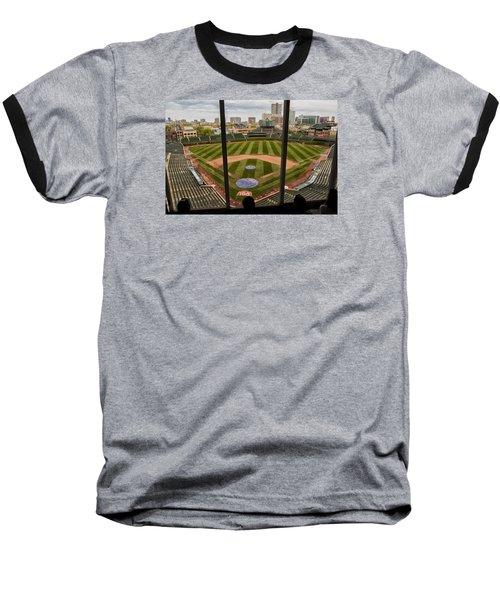 Wrigley Field Press Box Baseball T-Shirt by Tom Gort