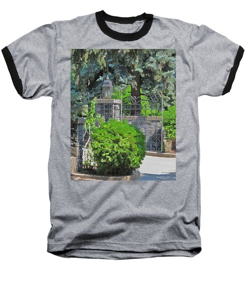 Wrought Iron Gate Baseball T-Shirt by Donald S Hall