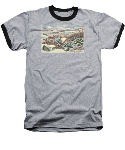 Wyoming Christmas Baseball T-Shirt by Dawn Senior-Trask