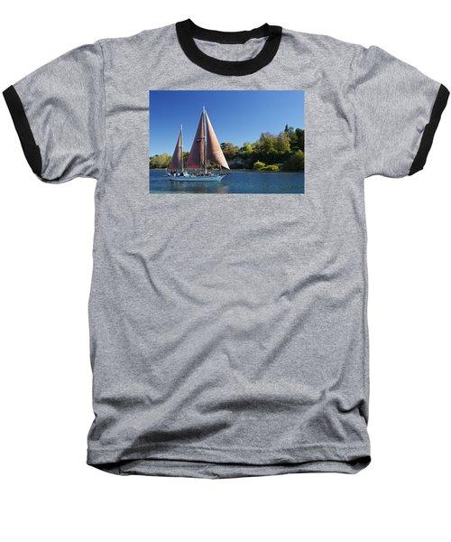 Yacht Fearless On Lake Taupo  Baseball T-Shirt by Venetia Featherstone-Witty