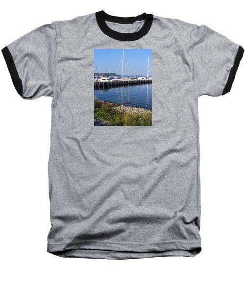Yachtworks Marina Sister Bay Baseball T-Shirt by David T Wilkinson