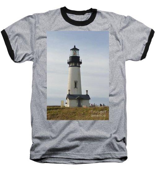 Yaquina Bay Lighthouse Baseball T-Shirt by Susan Garren