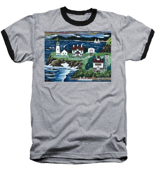 Baseball T-Shirt featuring the painting Yaquina Lighthouse by Jennifer Lake