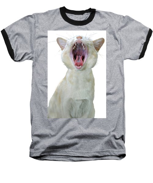Yawning Cat Baseball T-Shirt