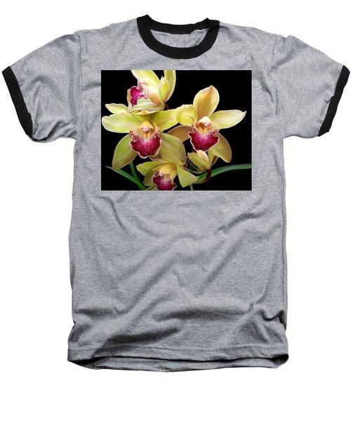 Yellow And Pink Orchids Baseball T-Shirt
