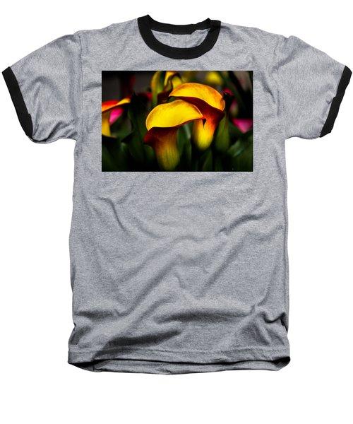 Yellow And Red Calla Lily Baseball T-Shirt by Menachem Ganon