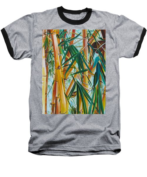 Baseball T-Shirt featuring the painting Yellow Bamboo by Marionette Taboniar