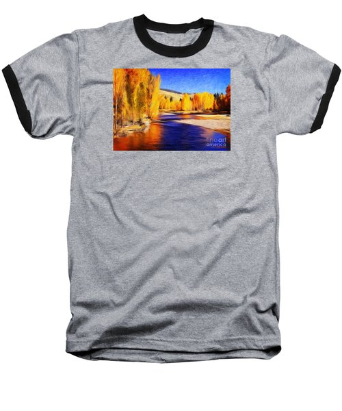 Yellow Bend In The River II Baseball T-Shirt by Joseph J Stevens