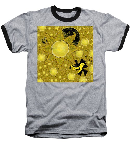 Yellow Bird Sings In The Sunflowers Baseball T-Shirt by Carol Jacobs