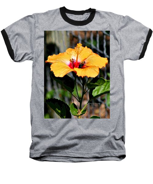 Yellow Bumble Bee Flower Baseball T-Shirt