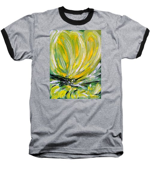 Baseball T-Shirt featuring the painting Yellow Butterfly by Jasna Dragun