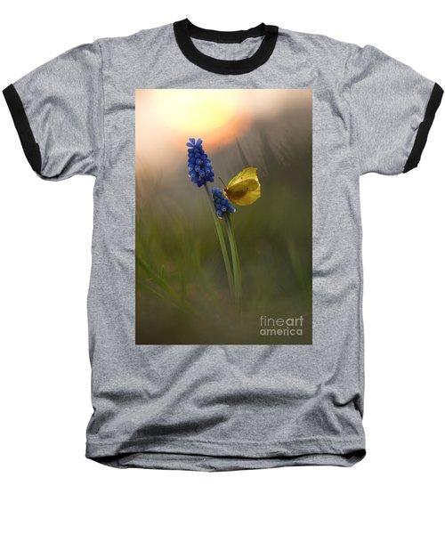 Yellow Butterfly On Grape Hyacinths Baseball T-Shirt